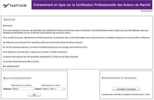 Projet AMF pour NATIXIS